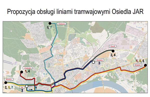 Linie tramwajowe na tzw. osiedle JAR